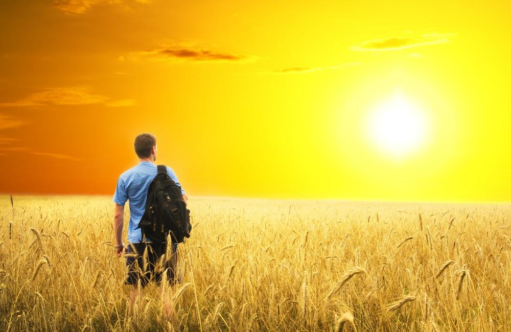太陽を見つめる男