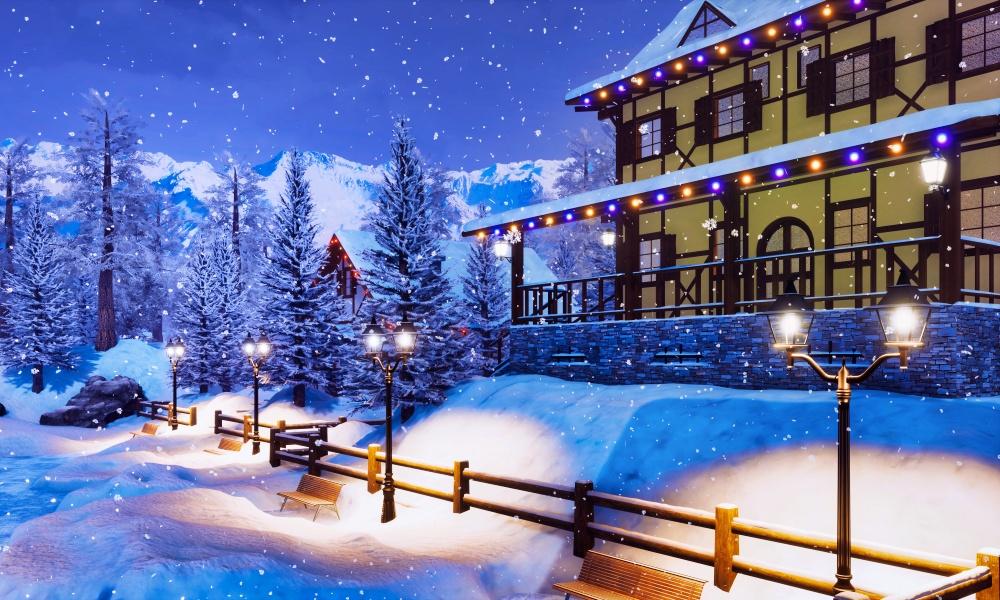 雪山にあるホテル