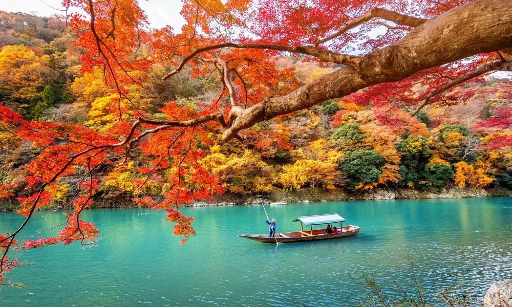 湖を渡るボート