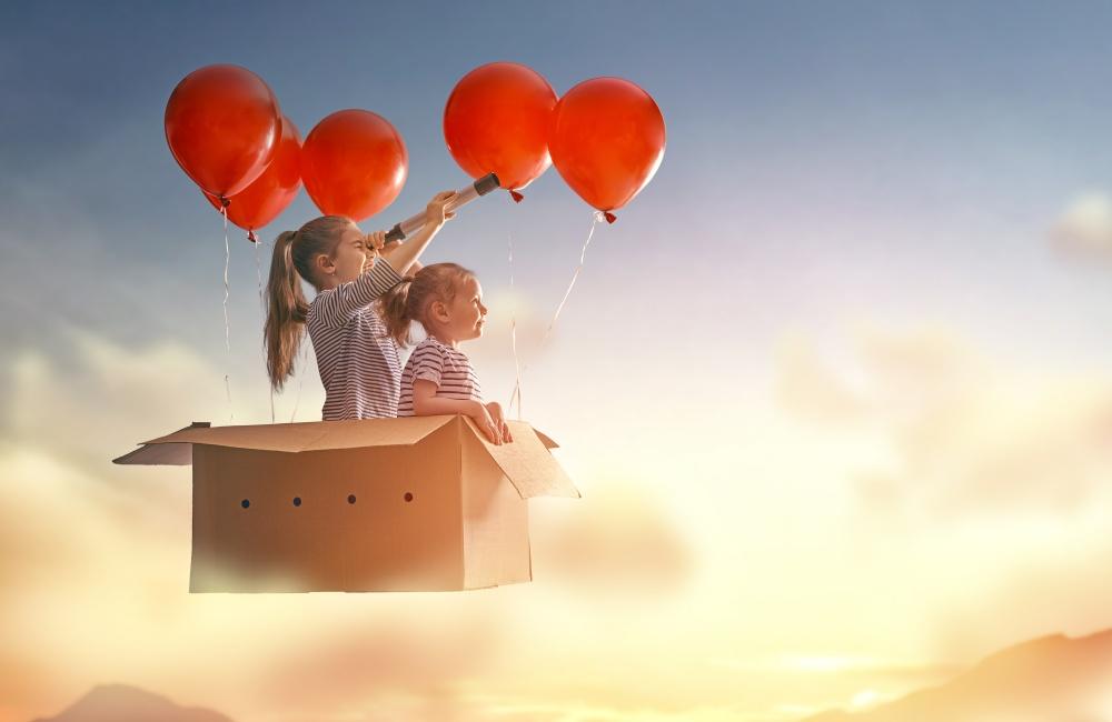 ダンボールの飛行機で旅をする姉妹
